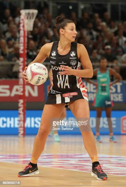 Madi Robinson of the Magpies controls the ball during the round seven Super Netball match between the Magpies and the Vixens at Hisense Arena on...