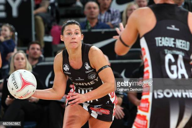 Madi Robinson of the Magpies in action during the round 12 Super Netball match between the Magpies and the Swifts at Hisense Arena on May 13 2017 in...