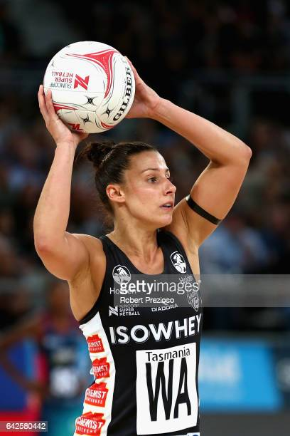Madi Robinson of the Magpies looks to make a pass during round one of the Super Netball match between the Vixens and Magpies at Hisense Arena on...