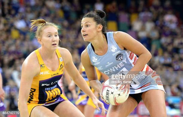 Madi Robinson of the Magpies looks to pass during the round five Super Netball match between the Lightning and the Magpies at Brisbane Entertainment...