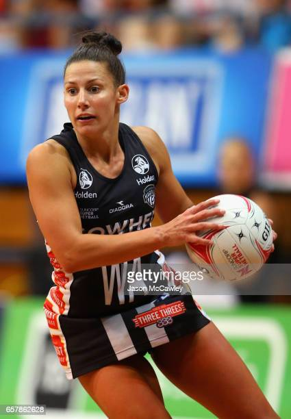 Madi Robinson of the Magpies looks to pass during the round six Super Netball match between the Swifts and the Magpies at Sydney Olympic Park Sports...