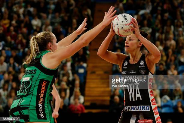 Madi Robinson of the Magpies looks to pass the ball during the round 13 Super Netball match between the Fever and the Magpies at Perth Arena on May...