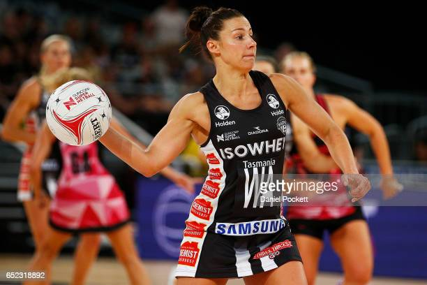 Madi Robinson of the Magpies makes a pass during the round four Super Netball match between the Magpies and the Thunderbirds at Hisense Arena on...