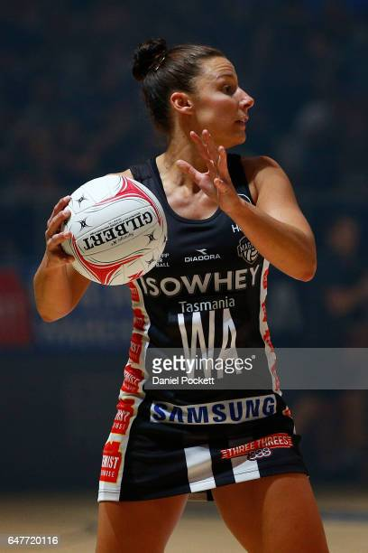 Madi Robinson of the Magpies makes a pass during the round three Super Netball match between the Magpies and the Giants at Hisense Arena on March 4...