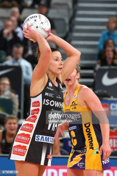 Madi Robinson of the Magpies passes during the round 11 Super Netball match between the Magpies and the Lightning at Hisense Arena on May 6 2017 in...