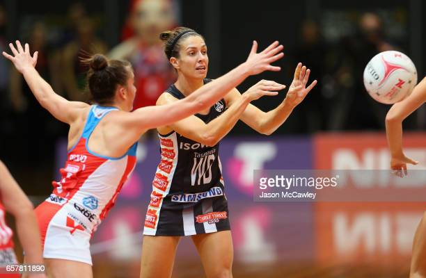 Madi Robinson of the Magpies passes during the round six Super Netball match between the Swifts and the Magpies at Sydney Olympic Park Sports Centre...