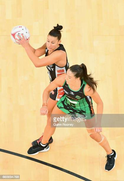 Madi Robinson of the Magpies passes the ball during the round eight Super Netball match between the Magpies and Fever at Hisense Arena on April 7...