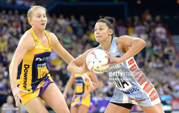 Madi Robinson of the Magpies passes the ball during the round five Super Netball match between the Lightning and the Magpies at Brisbane...