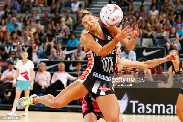 Madi Robinson of the Magpies receives a pass during the round four Super Netball match between the Magpies and the Thunderbirds at Hisense Arena on...