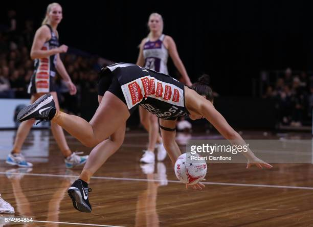 Madi Robinson of the Magpies takes a tumble during the round 10 Super Netball match between the Magpies and the Firebirds at the Silverdome on April...