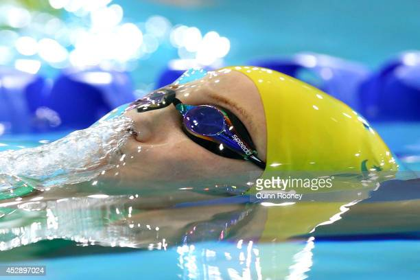 Madi Wilson of Australia competes in the Women's 50m Backstroke Final at Tollcross International Swimming Centre during day six of the Glasgow 2014...