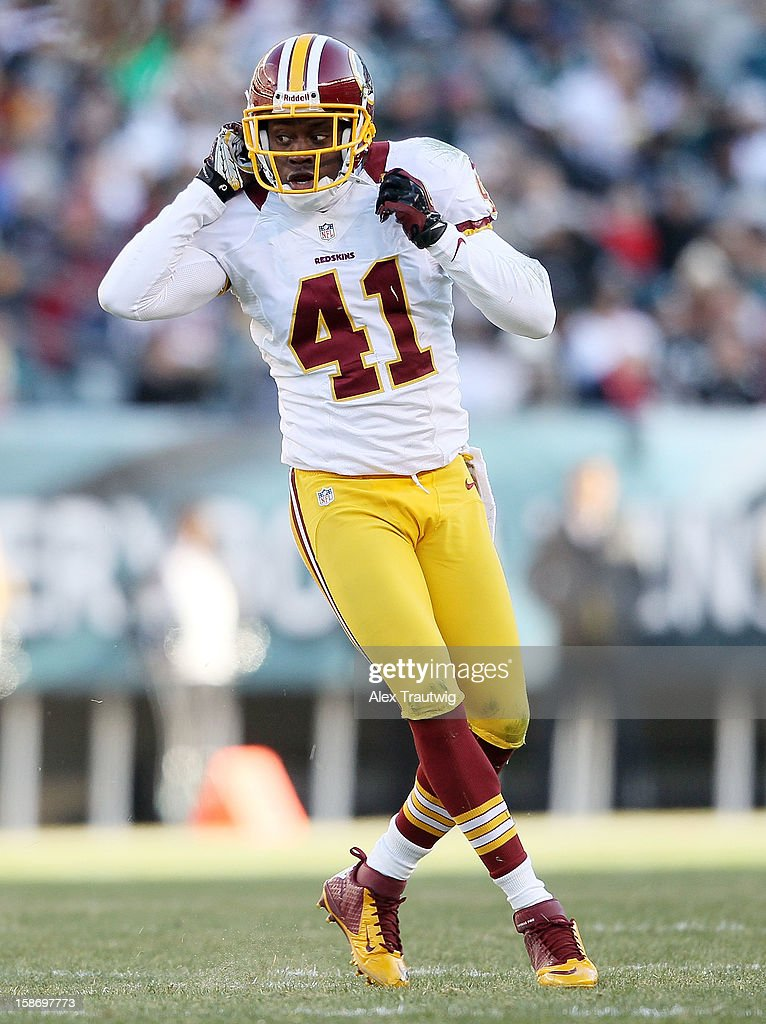 Madieu Williams #41 of the Washington Redskins looks on after making a tackle against the Philadelphia Eagles at Lincoln Financial Field on December 23, 2012 in Philadelphia, Pennsylvania.