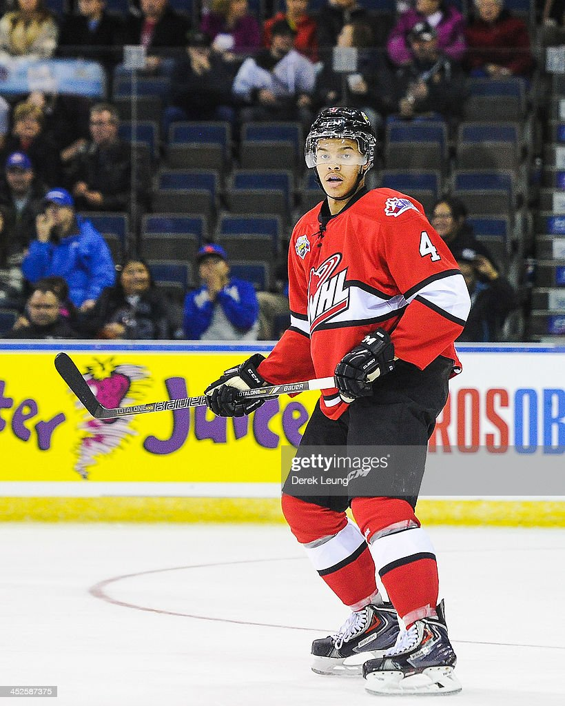 <a gi-track='captionPersonalityLinkClicked' href=/galleries/search?phrase=Madison+Bowey&family=editorial&specificpeople=8636139 ng-click='$event.stopPropagation()'>Madison Bowey</a> #4 of the WHL All-Stars skates against team Russia during Game Six of the WHL-Russia Subway Super Series on November, 28, 2013 at ENMAX Centre in Lethbridge, Alberta, Canada.