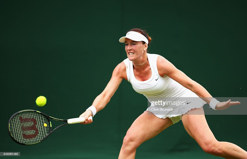 <a gi-track='captionPersonalityLinkClicked' href=/galleries/search?phrase=Madison+Brengle&family=editorial&specificpeople=4110556 ng-click='$event.stopPropagation()'>Madison Brengle</a> of The United States plays a plays a forehand shot shot during the Ladies Singles first round match against Kurumi Nara of Japan on day one of the Wimbledon Lawn Tennis Championships at the All England Lawn Tennis and Croquet Club on June 27th, 2016 in London, England.