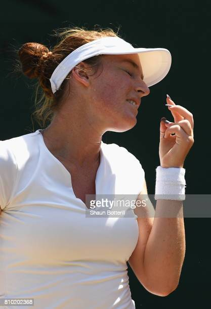 Madison Brengle of The Unites States reacts during the Ladies Singles third round match against Caroline Garcia of France on day five of the...