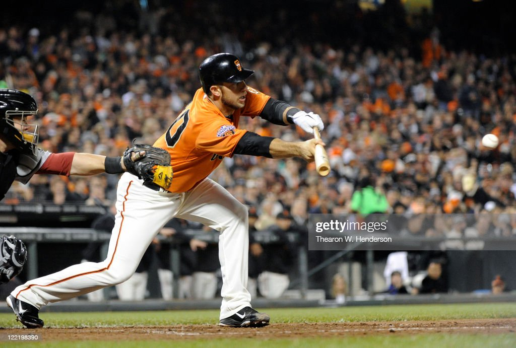 <a gi-track='captionPersonalityLinkClicked' href=/galleries/search?phrase=Madison+Bumgarner&family=editorial&specificpeople=5974095 ng-click='$event.stopPropagation()'>Madison Bumgarner</a> #40 of the San Francisco Giants gets down a sacrifice bunt against the Houston Astros in the fifth inning during an MLB baseball game August 26, 2011 at AT&T Park in San Francisco, California.