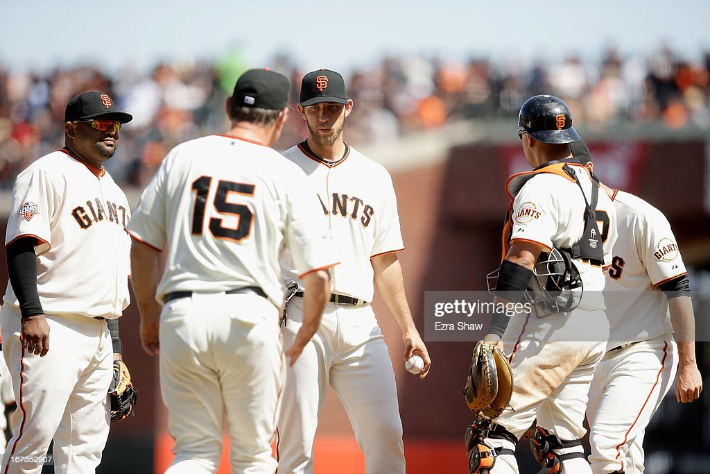 Madison Bumgarner #40 of the San Francisco Giants is taken out of the game by manager Bruce Bochy #15 of the San Francisco Giants after he gave up a run in the eighth inning to the Arizona Diamondbacks at AT&T Park on April 24, 2013 in San Francisco, California.