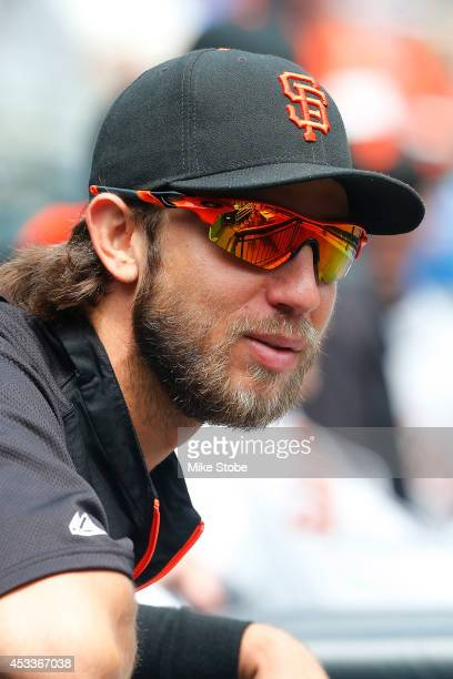 Madison Bumgarner of the San Francisco Giants looks on against the New York Mets at Citi Field on August 4 2014 in the Flushing neighborhood of the...