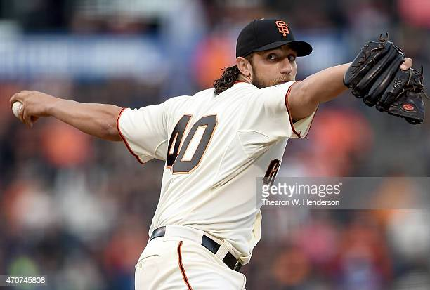 Madison Bumgarner of the San Francisco Giants pitches against the Los Angeles Dodgers in the top of the first inning at ATT Park on April 22 2015 in...
