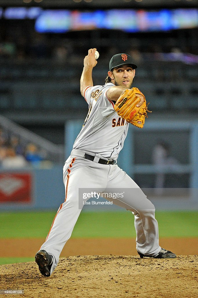 <a gi-track='captionPersonalityLinkClicked' href=/galleries/search?phrase=Madison+Bumgarner&family=editorial&specificpeople=5974095 ng-click='$event.stopPropagation()'>Madison Bumgarner</a> #40 of the San Francisco Giants pitches against the Los Angeles Dodgers at Dodger Stadium on May 9, 2014 in Los Angeles, California.