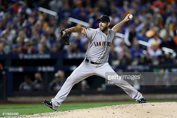Madison Bumgarner of the San Francisco Giants pitches against the New York Mets during their National League Wild Card game at Citi Field on October...