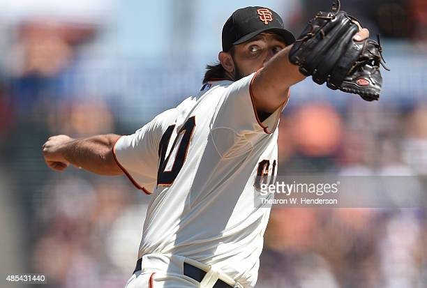 Madison Bumgarner of the San Francisco Giants pitches against the Chicago Cubs in the top of the first inning at ATT Park on August 27 2015 in San...