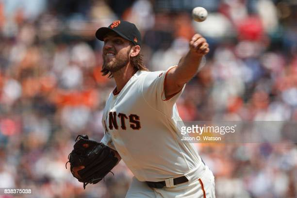 Madison Bumgarner of the San Francisco Giants pitches against the Philadelphia Phillies during the second inning at ATT Park on August 20 2017 in San...