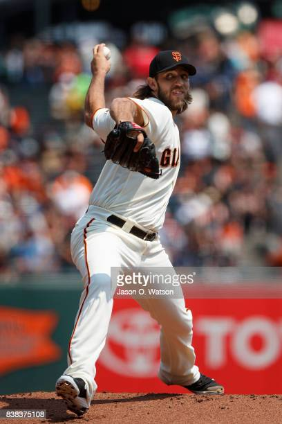 Madison Bumgarner of the San Francisco Giants pitches against the Philadelphia Phillies during the first inning at ATT Park on August 20 2017 in San...
