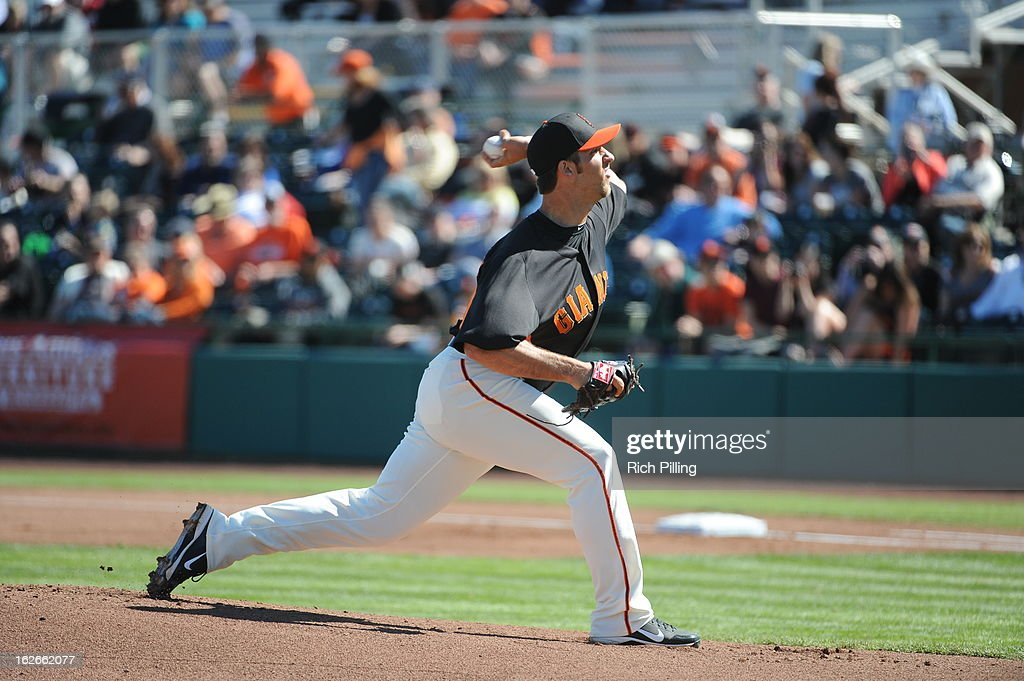 <a gi-track='captionPersonalityLinkClicked' href=/galleries/search?phrase=Madison+Bumgarner&family=editorial&specificpeople=5974095 ng-click='$event.stopPropagation()'>Madison Bumgarner</a> #40 of the San Francisco Giants pitches during the game against the Chicago White Sox on February 25, 2013 at Scottsdale Stadium in Scottsdale, Arizona. The Giants and White Sox played to a 9-9 tie.