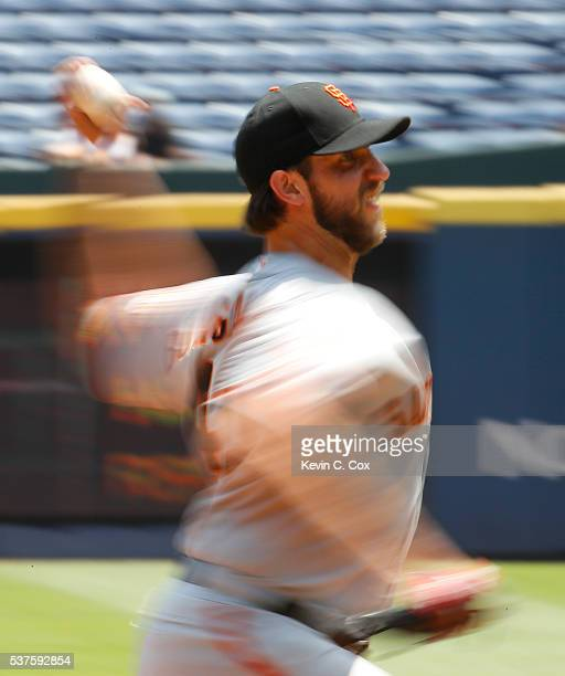Madison Bumgarner of the San Francisco Giants pitches in the second inning against the Atlanta Braves at Turner Field on June 2 2016 in Atlanta...