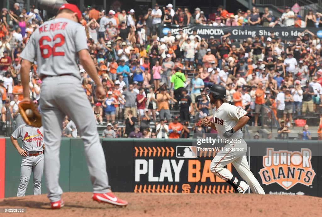 Madison Bumgarner #40 of the San Francisco Giants trots around the bases after hitting a solo home run off of Luke Weaver #62 of the St. Louis Cardinals in the bottom of the fifth inning at AT&T Park on September 3, 2017 in San Francisco, California.