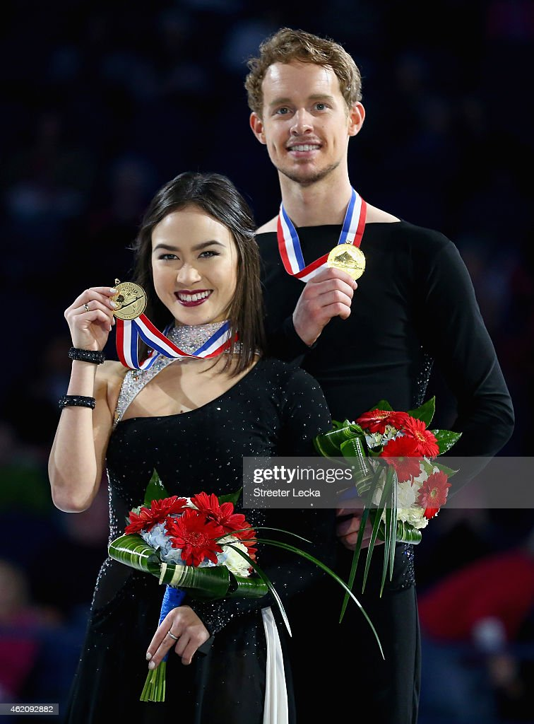 <a gi-track='captionPersonalityLinkClicked' href=/galleries/search?phrase=Madison+Chock&family=editorial&specificpeople=6471803 ng-click='$event.stopPropagation()'>Madison Chock</a> and <a gi-track='captionPersonalityLinkClicked' href=/galleries/search?phrase=Evan+Bates&family=editorial&specificpeople=4839407 ng-click='$event.stopPropagation()'>Evan Bates</a> celebrates after winning the Championship Dance Competition during day 3 of the 2015 Prudential U.S. Figure Skating Championships at Greensboro Coliseum on January 24, 2015 in Greensboro, North Carolina.