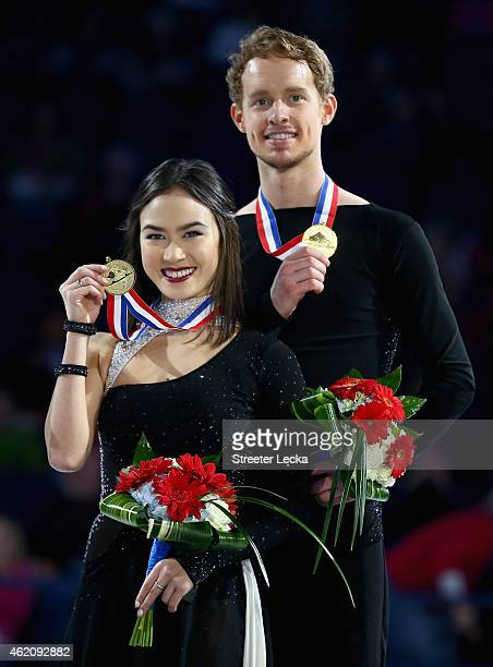 Madison Chock and Evan Bates celebrates after winning the Championship Dance Competition during day 3 of the 2015 Prudential US Figure Skating...