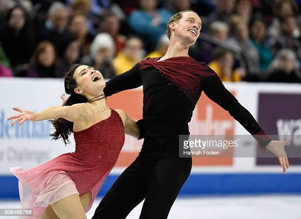 Madison Chock and Evan Bates compete in the Free Dance at the 2016 Prudential US Figure Skating Championship on January 23 2016 at Xcel Energy Center...