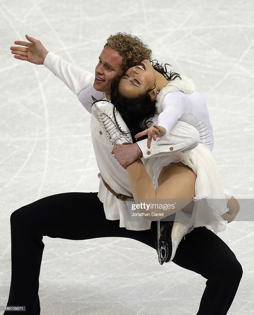 Madison Chock and Evan Bates compete in the Pairs Free Dance during the 2013 Prudential US Figure Skating Championships at CenturyLink Center on...