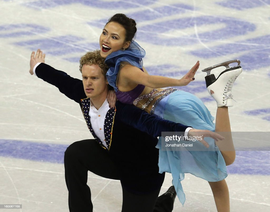 Madison Chock and Evan Bates compete in the Short Dance Program during the 2013 Prudential US Figure Skating Championships at CenturyLink Center on...