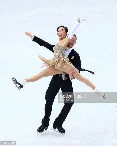 Madison Chock and Evan Bates of the United States compete during the Figure Skating Ice Dance Short Dance on day 9 of the Sochi 2014 Winter Olympics...