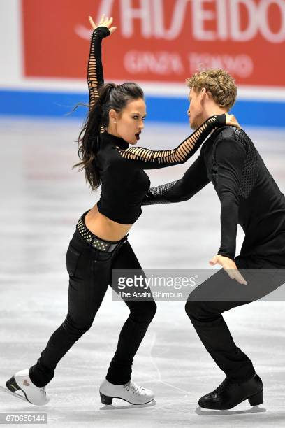 Madison Chock and Evan Bates of the United States compete in the Ice Dance Short Dance during day one of the ISU World Team Trophy 2017 at Yoyogi...
