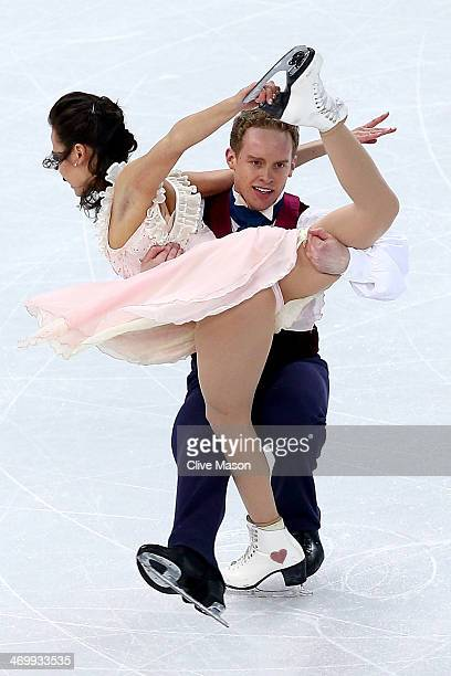 Madison Chock and Evan Bates of the United States compete in the Figure Skating Ice Dance Free Dance on Day 10 of the Sochi 2014 Winter Olympics at...