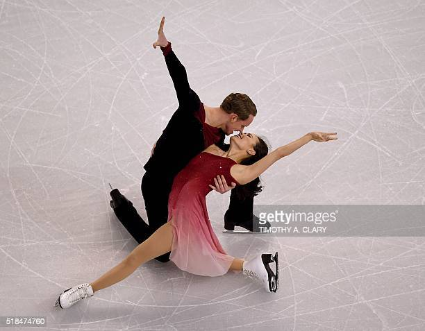 Madison Chock and Evan Bates of the United States perform during the Ice Dance Free Dance at the ISU World Figure Skating Championships at TD Garden...