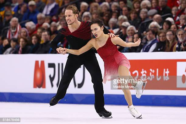Madison Chock and Evan Bates of the United States skate in Free Dance Program during Day 4 of the ISU World Figure Skating Championships 2016 at TD...