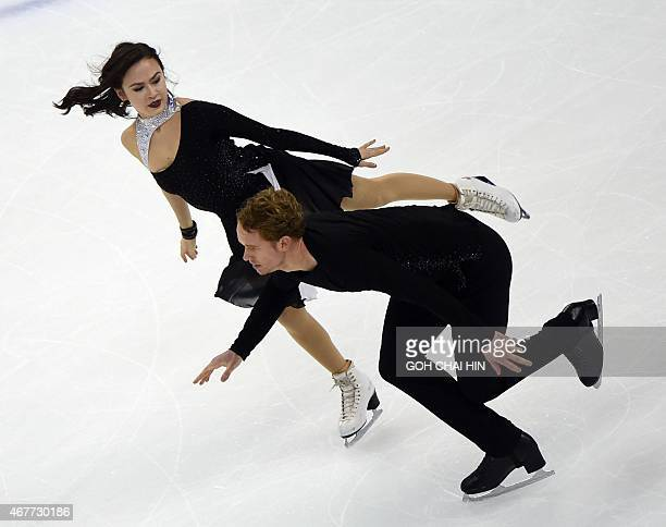 Madison Chock and Evan Bates of the US compete in the ice dance free dance during the 2015 ISU World Figure Skating Championships at the Shanghai...