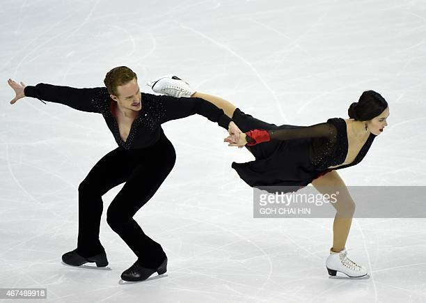 Madison Chock and Evan Bates of the US compete in the ice dance short dance event in the 2015 ISU World Figure Skating Championships at the Shanghai...