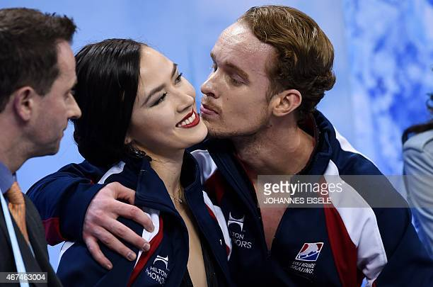 Madison Chock and Evan Bates of the US kiss after they performed in the Ice Dance short program of the 2015 ISU World Figure Skating Championships at...