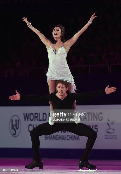 Madison Chock and Evan Bates of the US perform during the exhibition show of the 2015 ISU World Figure Skating Championships at Shanghai Oriental...