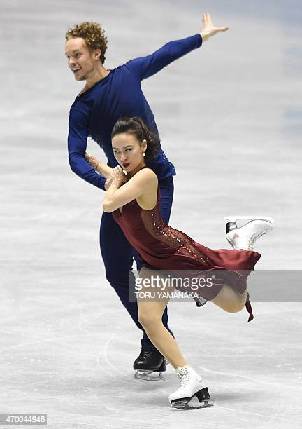 Madison Chock and Evan Bates of the US perform during the free dance in the ice dance event at the ISU World Team Trophy figure skating competition...