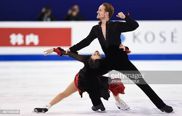 Madison Chock and Evan Bates of the US perform during the Ice Dance short program of the 2015 ISU World Figure Skating Championships at Shanghai...