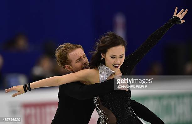 Madison Chock and Evan Bates of the US perform during their ice dance free skating of the 2015 ISU World Figure Skating Championships at Shanghai...