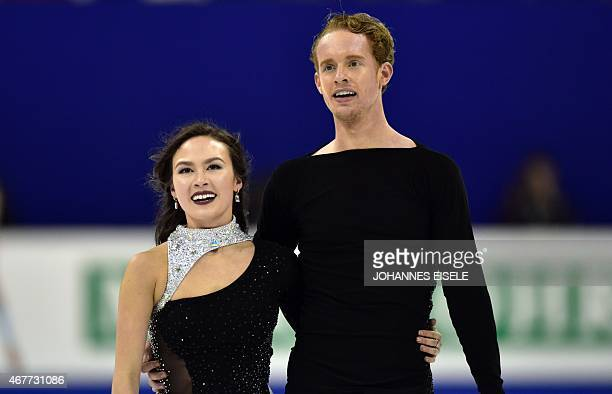 Madison Chock and Evan Bates of the US react after performing in their ice dance free skating of the 2015 ISU World Figure Skating Championships at...