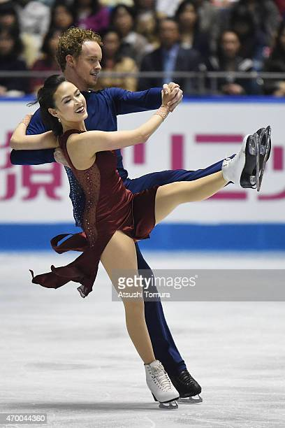 Madison Chock and Evan Bates of the USA compete in the Ice Dance free dance during the day two of the ISU World Team Trophy at Yoyogi National...
